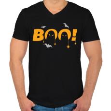 PRINTFASHION Halloween Boo! - Férfi V-nyakú póló - Fekete