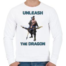 PRINTFASHION Hanzo - Unleash the Dragon - Férfi pulóver - Fehér