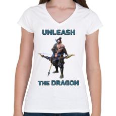 PRINTFASHION Hanzo - Unleash the Dragon - Női V-nyakú póló - Fehér