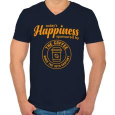 PRINTFASHION Happiness - Férfi V-nyakú póló - Sötétkék