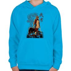PRINTFASHION Harcos - Gyerek kapucnis pulóver - Azúrkék