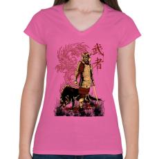 PRINTFASHION Harcos - Női V-nyakú póló - Rózsaszín