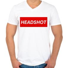 PRINTFASHION Headshot - Férfi V-nyakú póló - Fehér