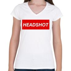 PRINTFASHION Headshot - Női V-nyakú póló - Fehér