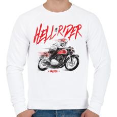 PRINTFASHION Hell Rider - Férfi pulóver - Fehér