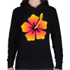PRINTFASHION Hibiscus - Női kapucnis pulóver - Fekete