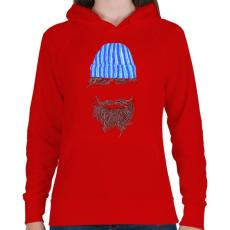 PRINTFASHION Hipszter - Női kapucnis pulóver - Piros