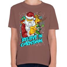 PRINTFASHION Hiszek a Karácsonyban - Gyerek póló - Mogyoróbarna