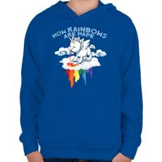 PRINTFASHION Hogyan készül a szivárvány - Gyerek kapucnis pulóver - Királykék