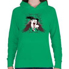 PRINTFASHION Holló lány - Női kapucnis pulóver - Zöld