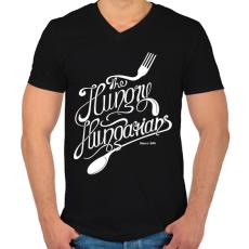 PRINTFASHION Hungry hungarians - Férfi V-nyakú póló - Fekete