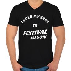 PRINTFASHION I sold my soul to FESTIVAL SEASON - Férfi V-nyakú póló - Fekete