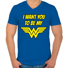 PRINTFASHION I want you to be my wonder woman - Férfi V-nyakú póló - Királykék