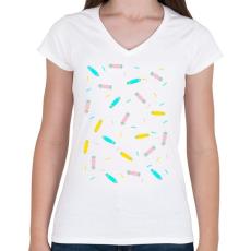PRINTFASHION Ice cream boards tee - Női V-nyakú póló - Fehér
