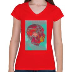 PRINTFASHION Ideg - Női V-nyakú póló - Piros