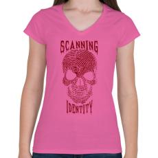 PRINTFASHION Identitás szkennelés. - Női V-nyakú póló - Rózsaszín