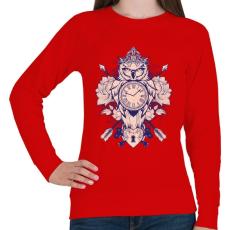 PRINTFASHION Időbagoly - Női pulóver - Piros