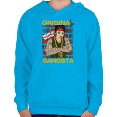 PRINTFASHION Igazi gangsta - Gyerek kapucnis pulóver - Azúrkék
