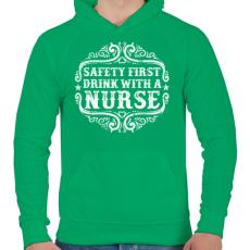 PRINTFASHION Igyál a nővérrel - Férfi kapucnis pulóver - Zöld