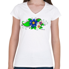 PRINTFASHION Indiai virág - Női V-nyakú póló - Fehér női póló
