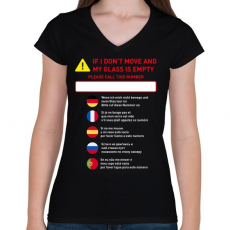 PRINTFASHION Instructions - Női V-nyakú póló - Fekete