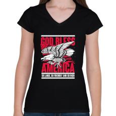 PRINTFASHION Isten Áldjon Amerika - Női V-nyakú póló - Fekete