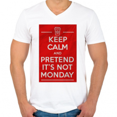 PRINTFASHION It's not monday - Férfi V-nyakú póló - Fehér
