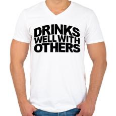 PRINTFASHION Ivászat - Férfi V-nyakú póló - Fehér