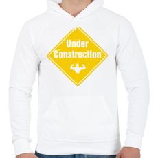 PRINTFASHION Izomépítés folyamatban - Férfi kapucnis pulóver - Fehér
