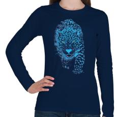 PRINTFASHION Jaguár - Női hosszú ujjú póló - Sötétkék