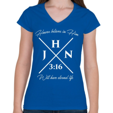 PRINTFASHION János 3:16 - Női V-nyakú póló - Királykék