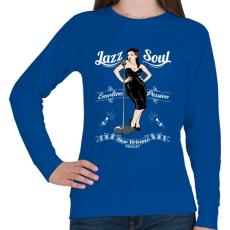 PRINTFASHION Jazz & Soul - Női pulóver - Királykék