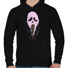 PRINTFASHION Jégsikoly - Férfi kapucnis pulóver - Fekete