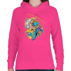 PRINTFASHION Jó rezgések - Női kapucnis pulóver - Fukszia