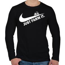 PRINTFASHION Just farm it - Férfi hosszú ujjú póló - Fekete