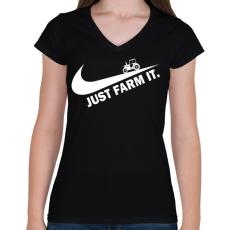 PRINTFASHION Just farm it - Női V-nyakú póló - Fekete
