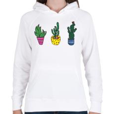 PRINTFASHION Kaktuszok - Női kapucnis pulóver - Fehér