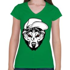 PRINTFASHION Kalapos farkas - Női V-nyakú póló - Zöld