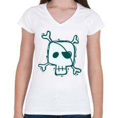 PRINTFASHION Kalóz halálfej - Női V-nyakú póló - Fehér