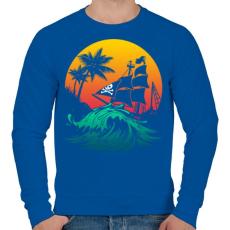PRINTFASHION Kalózhajó a napnyugtában - Férfi pulóver - Királykék