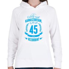PRINTFASHION kamasz-45-cyan - Női kapucnis pulóver - Fehér