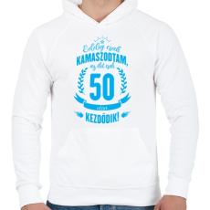 PRINTFASHION kamasz-50-cyan - Férfi kapucnis pulóver - Fehér