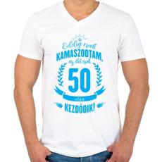 PRINTFASHION kamasz-50-cyan - Férfi V-nyakú póló - Fehér