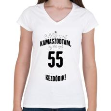 PRINTFASHION kamasz-55-black-white - Női V-nyakú póló - Fehér