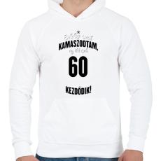 PRINTFASHION kamasz-60-black-white - Férfi kapucnis pulóver - Fehér