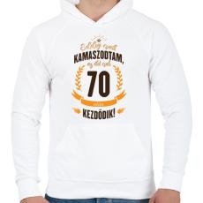 PRINTFASHION kamasz-70-brown-orange - Férfi kapucnis pulóver - Fehér