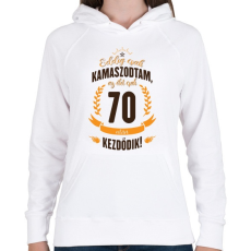 PRINTFASHION kamasz-70-brown-orange - Női kapucnis pulóver - Fehér