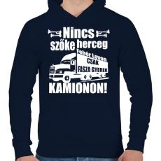 PRINTFASHION Kamionos Fehér - Férfi kapucnis pulóver - Sötétkék