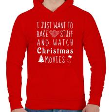 PRINTFASHION Karácsonyi filmek és sütés - Férfi kapucnis pulóver - Piros