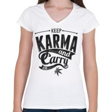 PRINTFASHION Karma - Női V-nyakú póló - Fehér